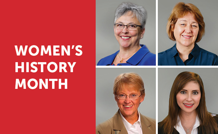 "White text on red background says ""Women's History Month"" next to headshots of four women."
